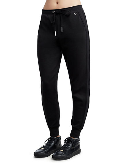 WOMENS MESH STRIPE JOGGER SWEATPANT