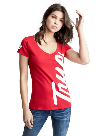 BIG TRUE RELIGION ROUNDED  V TEE