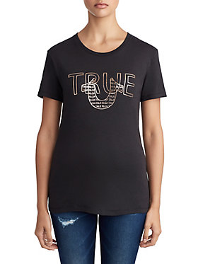 WOMENS METALLIC PUFF LOGO TEE