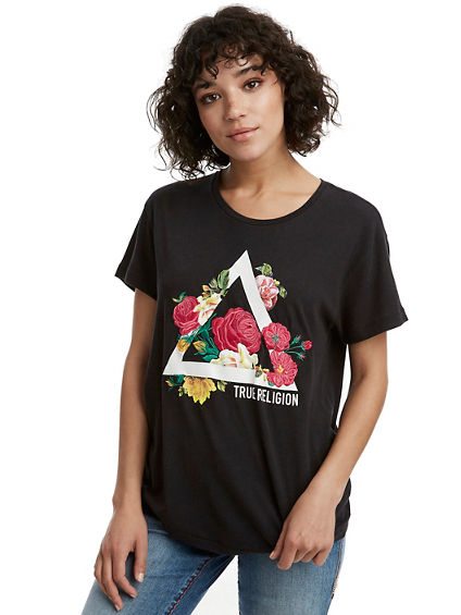 WOMENS TRIANGLE FLORAL GRAPHIC TEE
