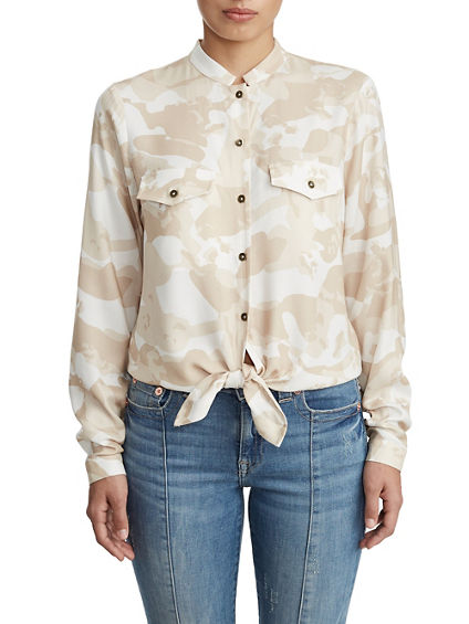 WOMENS DESERT CAMO BUTTON UP TIE SHIRT
