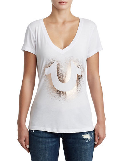 WOMENS METALLIC DEEP V GRAPHIC TEE