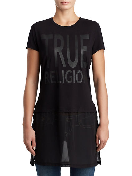 WOMENS SHEER LAYERED LOGO TUNIC