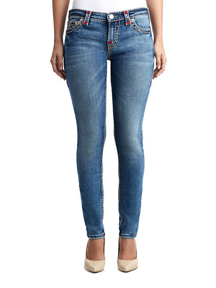 WOMENS CONTRAST SUPER T HALLE SUPER SKINNY JEAN