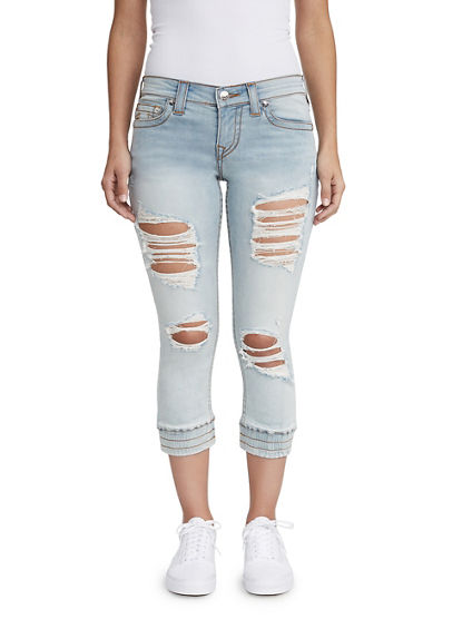 WOMENS DESTROYED JOGGER CAPRI JEAN