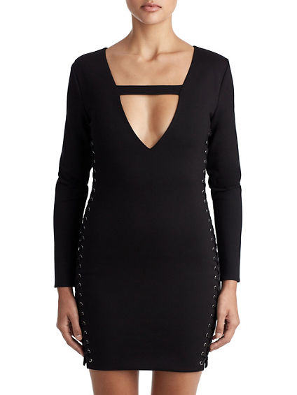 WOMENS SUPER DEEP V LACE UP BODYCON DRESS