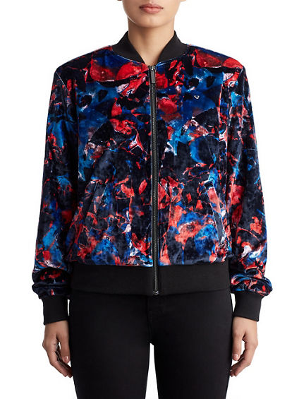 WOMENS GRAPHIC VELVET BOMBER JACKET