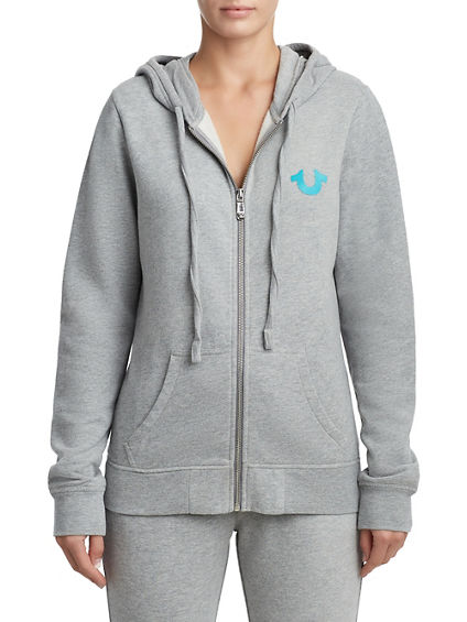 WOMENS CLASSIC TWO TONE ZIP UP HOODIE