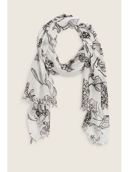 WHITE BLACK FLORAL SCARF