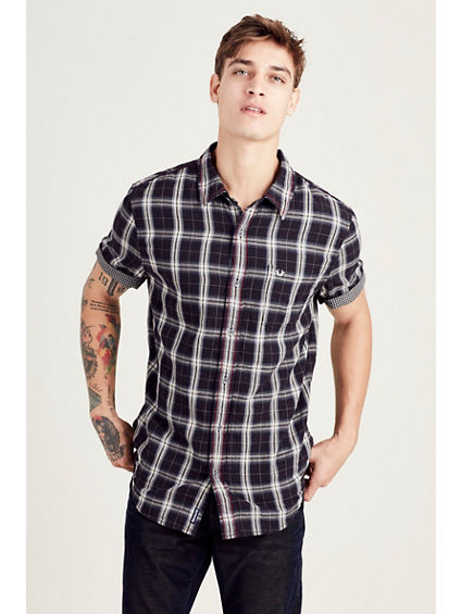 HAND PICKED SHORT SLEEVE BUTTON DOWN MENS SHIRT
