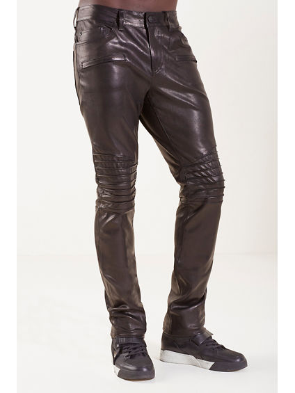 BIKER STRAIGHT LEATHER MENS PANT