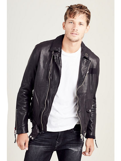MENS PATCHED LEATHER BIKER JACKET