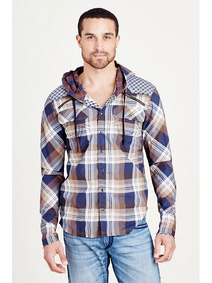 HOODED PLAID WESTERN MENS SHIRT