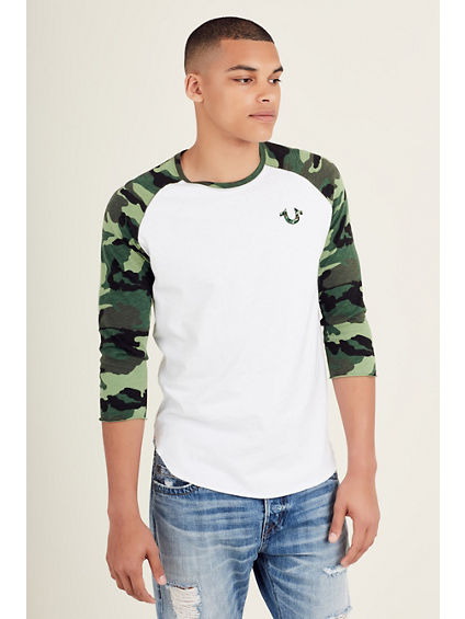 CAMO BASEBALL SLEEVE MENS SHIRT