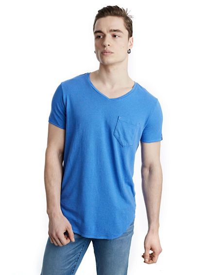 MENS VNECK POCKET TEE