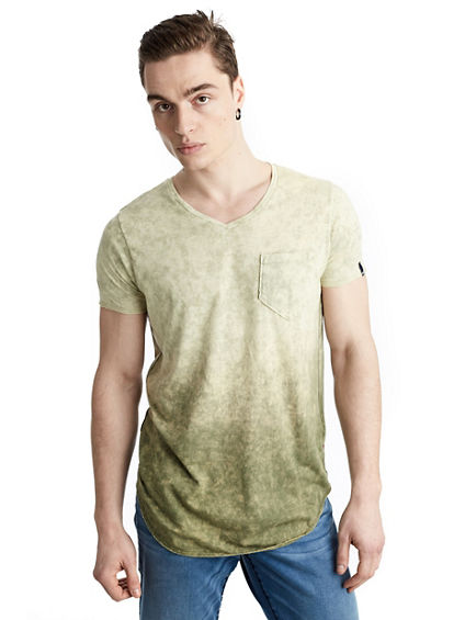 MENS OMBRE ACID WASH POCKET TEE