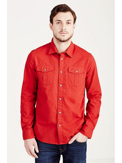 HAND PICKED L/S UTILITY WOVEN MENS SHIRT