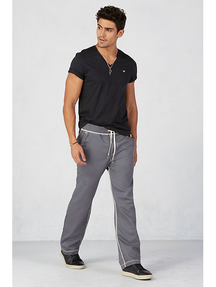 CONTRAST BIG T STITCH WIDE LEG MENS SWEATPANT