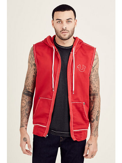 BIG T SLEEVELESS ZIP FRONT MENS HOODIE