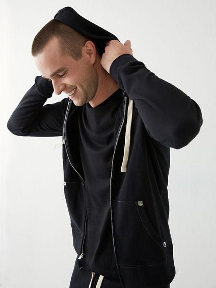 classic logo zip mens hoodie true religion. Black Bedroom Furniture Sets. Home Design Ideas