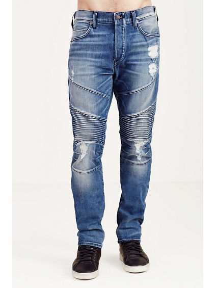 ROCCO SKINNY RIPPED AND WORN MOTO MENS JEAN