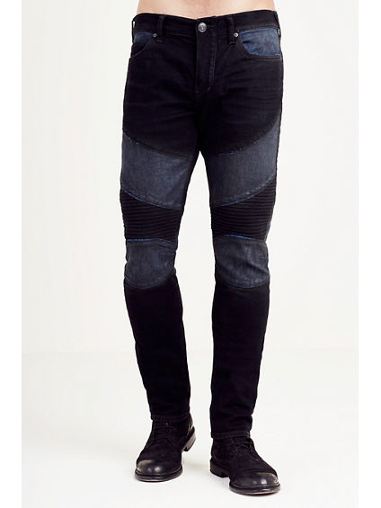 HAND PICKED ROCCO SKINNY TWO TONE MOTO MENS JEAN