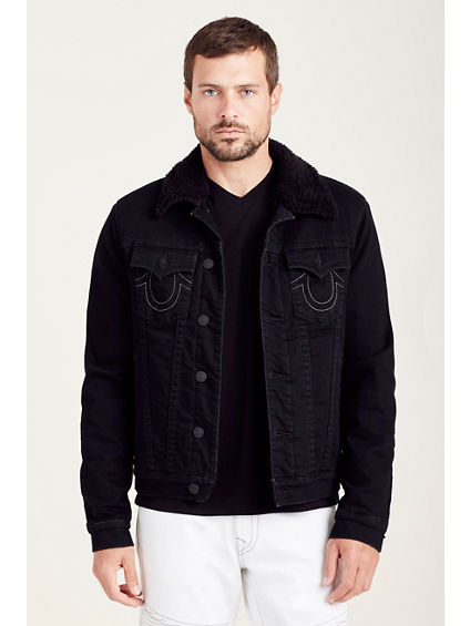 SHERPA LINED BLACK DENIM MENS JACKET