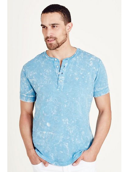 ACID WASH MENS HENLEY TEE