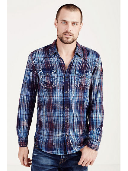 WESTERN PLAID MENS SHIRT