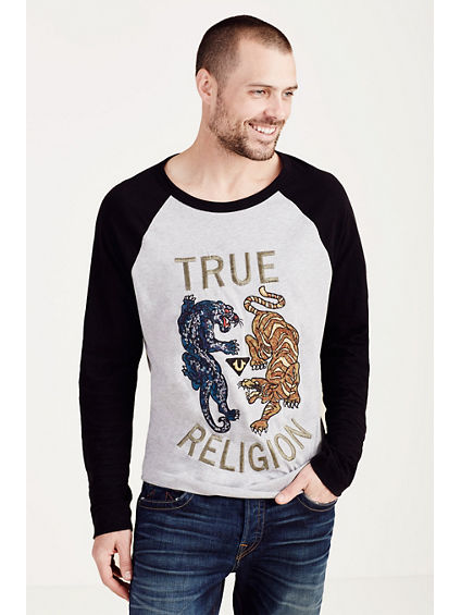 PANTHER VS TIGER EMBROIDERY MENS TEE