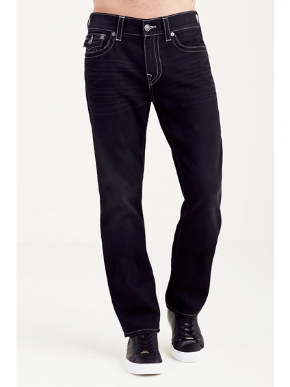 HAND PICKED STRAIGHT FLAP BLACK MENS JEAN