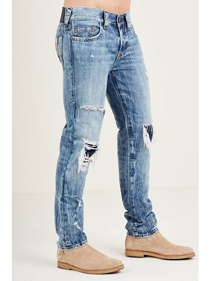 DESTROYED JACQUARD ROCCO SKINNY MENS JEAN