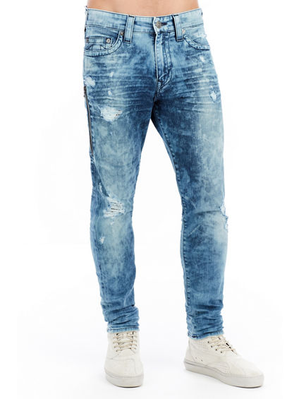 MENS SIDE ZIPPER MICK SLOUCHY SKINNY JEAN