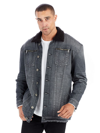 ELONGATED TURNER MENS SHERPA DENIM JACKET