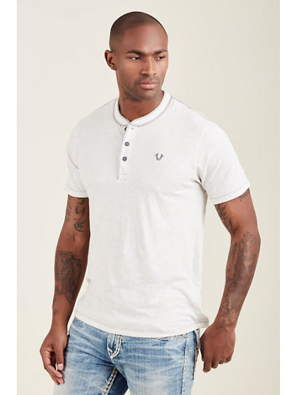 EMBROIDERED LOGO HENLEY MENS TOP