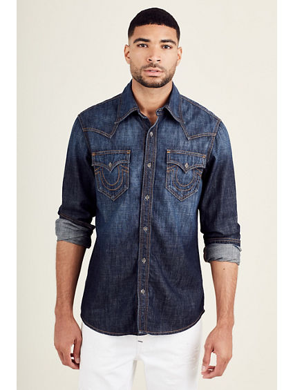 WESTERN DENIM ORANGE STITCH MENS SHIRT
