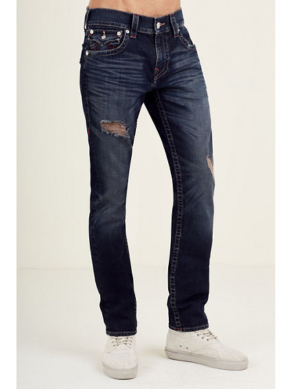 SKINNY RED STITCH RIPPED MENS JEAN