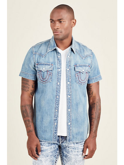 DENIM UTILITY WOVEN MENS SHIRT