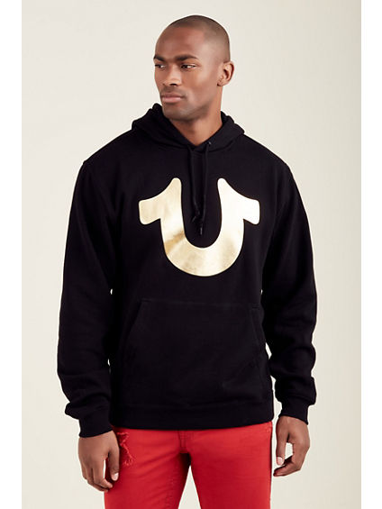 GOLD HORSESHOE PULLOVER MENS HOODIE