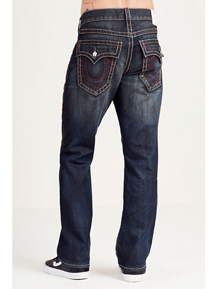STRAIGHT EARTH/RED STITCH MENS JEAN