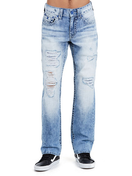 STRAIGHT FLAP BIG T DISTRESSED MENS JEAN
