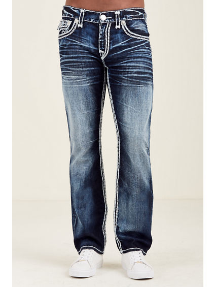 STRAIGHT FLAP SUPER QT WHITE STITCH MENS JEAN