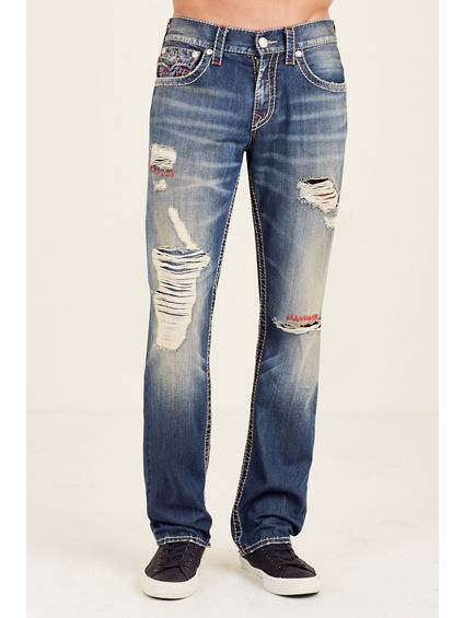 STRAIGHT FLAP RIPPED BIG T MENS JEAN