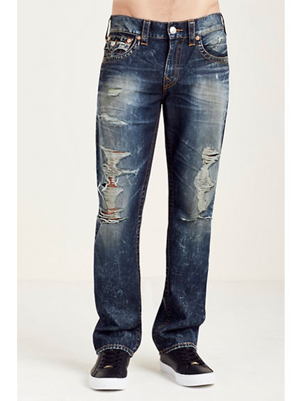 STRAIGHT FLAP RED/ORANGE STITCH MENS JEAN