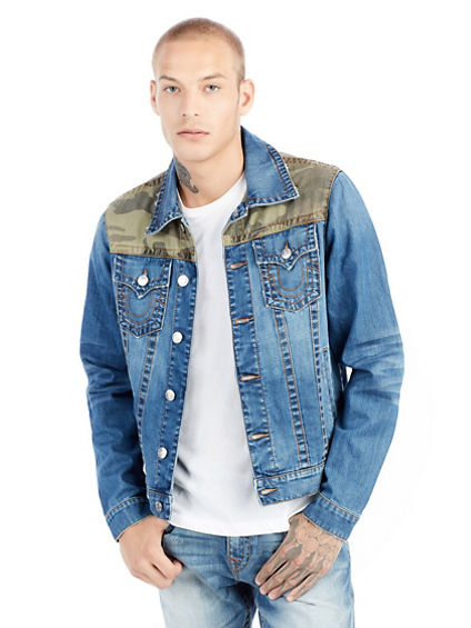 CAMO YOKE TRUCKER MENS DENIM JACKET