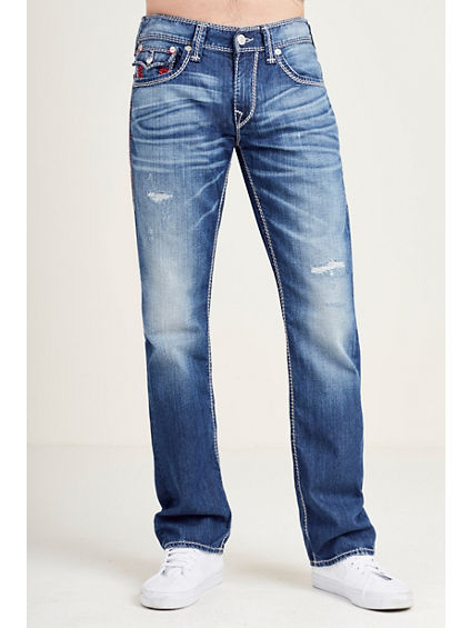STRAIGHT FLAP RED MEGA T STITCH MENS JEAN