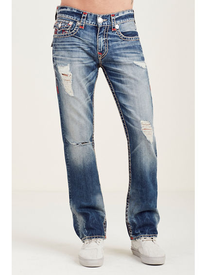 STRAIGHT FLAP RED STITCH RIPPED MENS JEAN