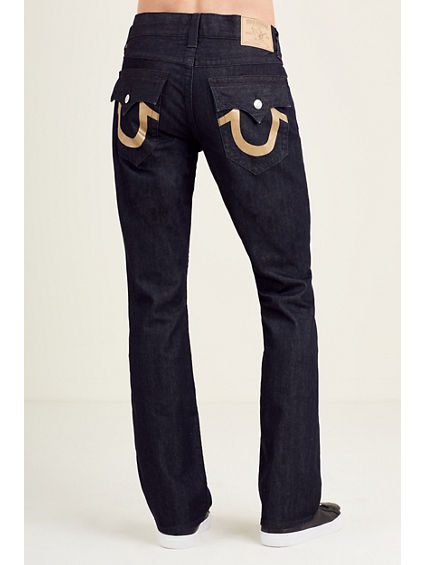 STRAIGHT FLAP GOLD LOGO MENS JEAN
