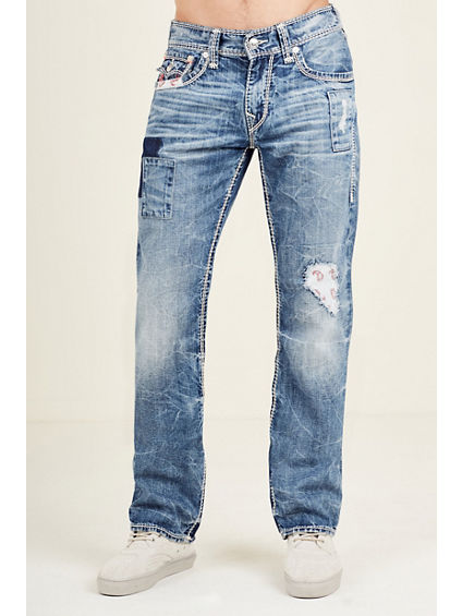 STRAIGHT BANDANA RIPPED PATCH MENS JEAN