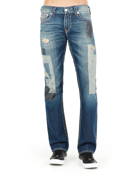STRAIGHT RED BIG T LOGO RIPPED  MENS JEAN